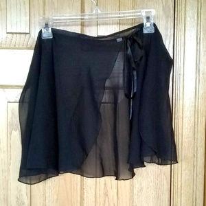 Dresses & Skirts - Black chiffon ballet dance skirt with satin ribbon